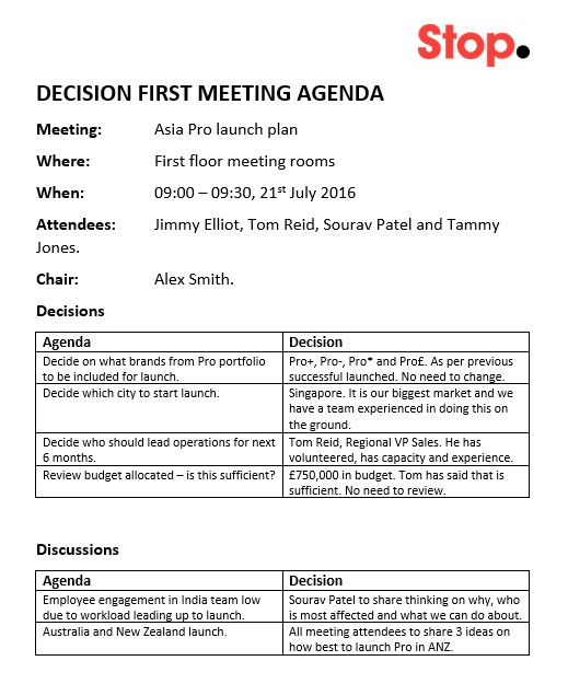 Decision first meeting example final